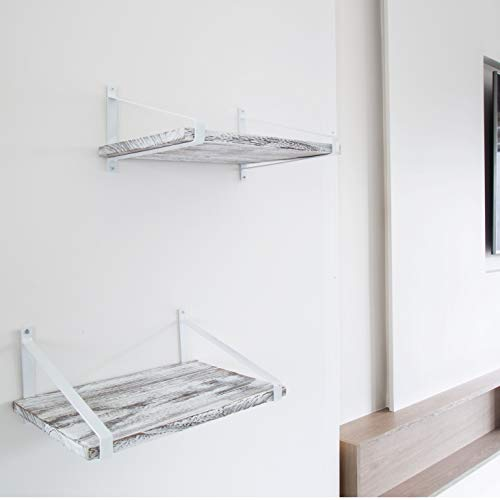 Comfify Decorative Floating Shelves Set Of 2 Rustic Wall Storage Made Of Sturdy Paulownia Wood WCoated Steel Brackets Wooden Shelves For Bathroom Living Room Kitchen More Rustic White 0 3
