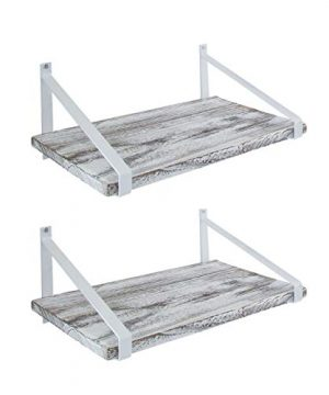 Comfify Decorative Floating Shelves Set Of 2 Rustic Wall Storage Made Of Sturdy Paulownia Wood WCoated Steel Brackets Wooden Shelves For Bathroom Living Room Kitchen More Rustic White 0 300x360