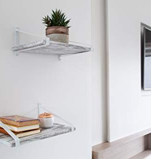 Comfify Decorative Floating Shelves Set Of 2 Rustic Wall Storage Made Of Sturdy Paulownia Wood WCoated Steel Brackets Wooden Shelves For Bathroom Living Room Kitchen More Rustic White 0 4 300x317