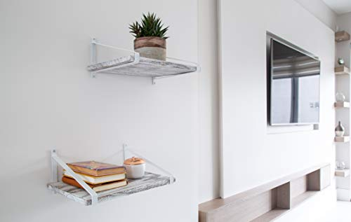 Comfify Decorative Floating Shelves Set Of 2 Rustic Wall Storage Made Of Sturdy Paulownia Wood WCoated Steel Brackets Wooden Shelves For Bathroom Living Room Kitchen More Rustic White 0 4