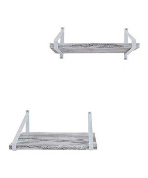 Comfify Decorative Floating Shelves Set Of 2 Rustic Wall Storage Made Of Sturdy Paulownia Wood WCoated Steel Brackets Wooden Shelves For Bathroom Living Room Kitchen More Rustic White 0 5 300x360