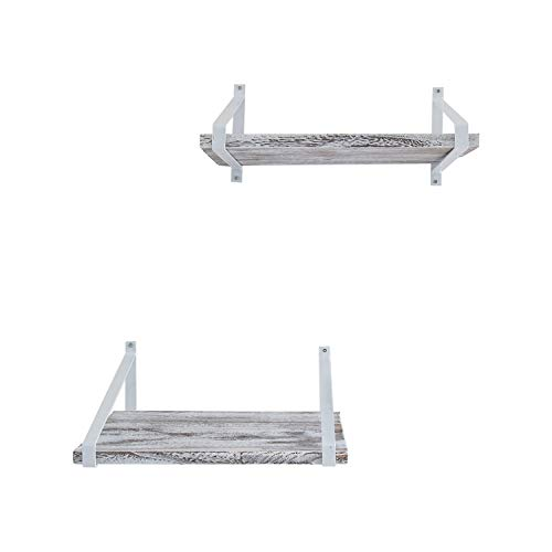 Comfify Decorative Floating Shelves Set Of 2 Rustic Wall Storage Made Of Sturdy Paulownia Wood WCoated Steel Brackets Wooden Shelves For Bathroom Living Room Kitchen More Rustic White 0 5
