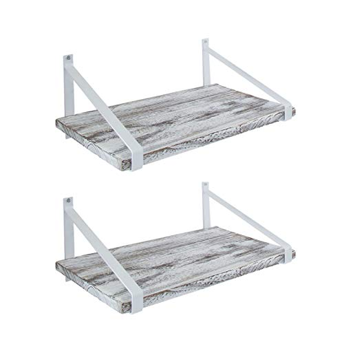 Comfify Decorative Floating Shelves Set Of 2 Rustic Wall Storage Made Of Sturdy Paulownia Wood WCoated Steel Brackets Wooden Shelves For Bathroom Living Room Kitchen More Rustic White 0