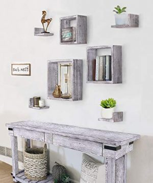 Comfify Rustic Wall Mounted Square Shaped Floating Shelves Set Of 7 3 Square Shelves And 4 L Shaped Rustic Shelves Screws And Anchors Included Rustic Wall Dcor Rustic White 0 0 300x360
