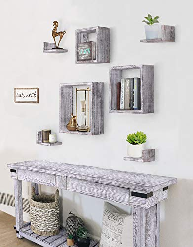 Comfify Rustic Wall Mounted Square Shaped Floating Shelves Set Of 7 3 Square Shelves And 4 L Shaped Rustic Shelves Screws And Anchors Included Rustic Wall Dcor Rustic White 0 0