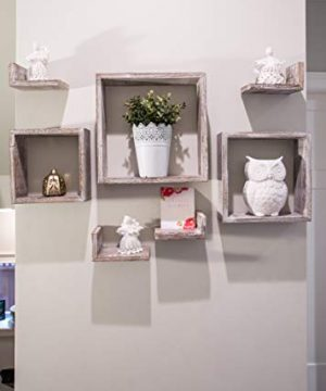 Comfify Rustic Wall Mounted Square Shaped Floating Shelves Set Of 7 3 Square Shelves And 4 L Shaped Rustic Shelves Screws And Anchors Included Rustic Wall Dcor Rustic White 0 2 300x360