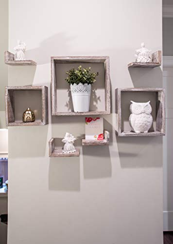 Comfify Rustic Wall Mounted Square Shaped Floating Shelves Set Of 7 3 Square Shelves And 4 L Shaped Rustic Shelves Screws And Anchors Included Rustic Wall Dcor Rustic White 0 2