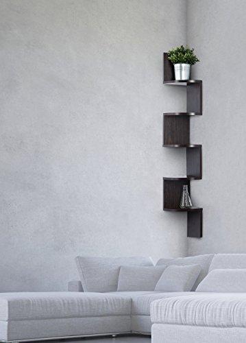 Corner Shelf Espresso Finish Corner Shelf Unit 5 Tier Corner Shelves Can Be Used For Corner Bookshelf Or Any Decor By Sagler 0 0