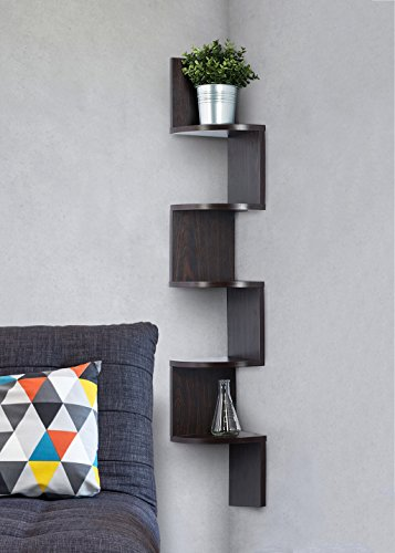Corner Shelf Espresso Finish Corner Shelf Unit 5 Tier Corner Shelves Can Be Used For Corner Bookshelf Or Any Decor By Sagler 0