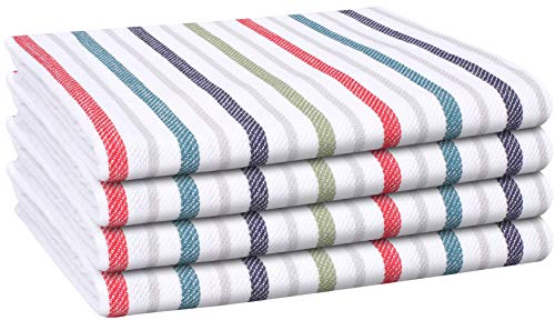 Cote De Amor Kitchen Dish Towels 4 Pack 100 Cotton Oversized 20x28 Bar Towels Tea Towels Cleaning Towels Everyday Modern Farmhouse Kitchen Towels With Hanging Loop Multi Colors 0