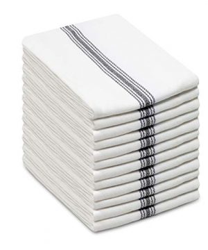 Cotton Craft Scandia Stripe Charcoal White 12 Pack Superior Professional Grade Kitchen Dish Tea Towels May Also Be Used As Napkins 16x28 30 Ounces Pure 100 Cotton Low Lint Sturdy Weave 0 300x360
