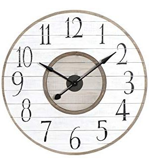 Creative Co Op 36 Inch Round White Brown Distressed Wood Slat Clock White 0 300x334