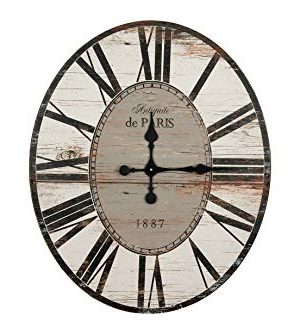 Creative Co Op Distressed Wood Wall Clock 29 Oval Light Grey 0 300x334