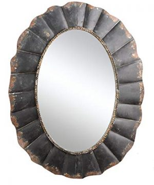 Creative Co Op Oval Mirror With Distressed Black Scalloped Metal Frame 0 300x360