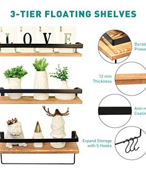 Creativefine Floating Shelves Wall Mounted Set Of 3 Rustic Solid Wood Wall Shelf For Farmhouse Style Bedroom Living Room Kitchen Pine 0 0 300x360
