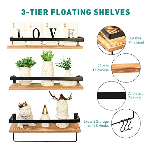 Creativefine Floating Shelves Wall Mounted Set Of 3 Rustic Solid Wood Wall Shelf For Farmhouse Style Bedroom Living Room Kitchen Pine 0 0