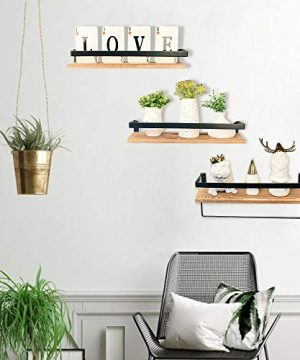 Creativefine Floating Shelves Wall Mounted Set Of 3 Rustic Solid Wood Wall Shelf For Farmhouse Style Bedroom Living Room Kitchen Pine 0 2 300x360