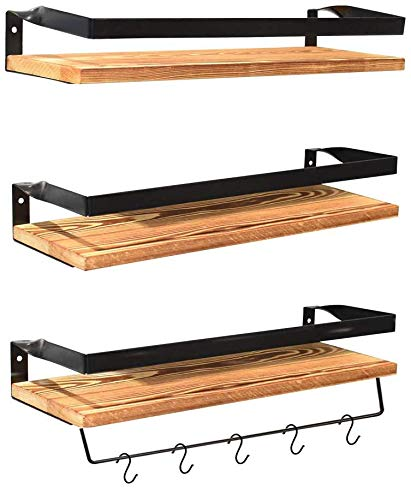 Floating Shelves Wall Mounted Set Of 3, Rustic Solid Wood Wall Shelf For Bedroom, Living Room, Kitchen, Bathroom (Pine) - Farmhouse Goals