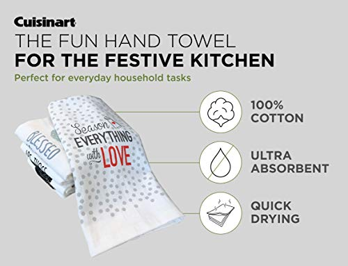 Cuisinart 100 Cotton Printed Kitchen Hand Towels 2pk Soft And Absorbent Decorative Kitchen Towels Perfect For Drying Dishes And Hands Machine Washable Kitchen Towel Set 16 X 28 Season Everything 0 1