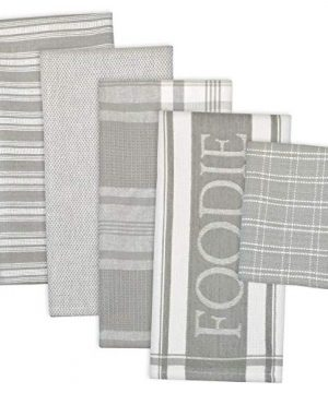 DII Assorted Decorative Kitchen Dish Towels Dish Cloth Foodie Set Ultra Absorbent For Washing And Drying Towels 18x28 Cloths 13x13 Light Gray Set Of 5 0 300x360