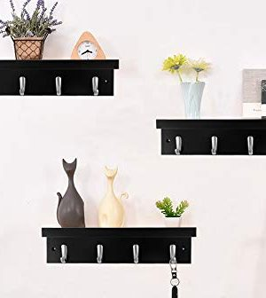 DOKEHOM 4 Satin Nickel Hooks 4 Colors On Wooden Board With Shelf Coat Rack Hanger Mail Box Packing Black 0 2 300x336