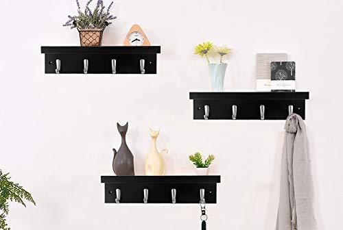 DOKEHOM 4 Satin Nickel Hooks 4 Colors On Wooden Board With Shelf Coat Rack Hanger Mail Box Packing Black 0 2