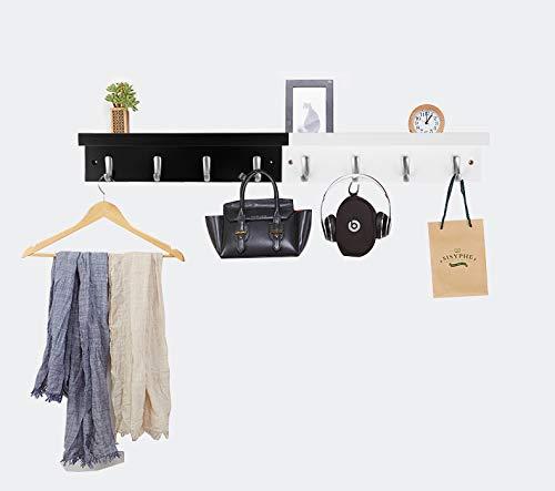 DOKEHOM 4 Satin Nickel Hooks 4 Colors On Wooden Board With Shelf Coat Rack Hanger Mail Box Packing Black 0 3