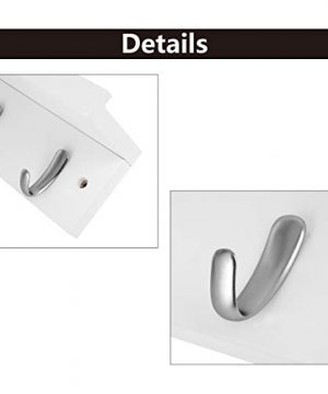DOKEHOM 4 Satin Nickel Hooks 4 Colors On Wooden Board With Shelf Coat Rack Hanger Mail Box Packing White 0 1 300x360