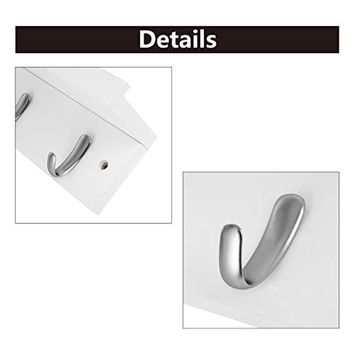 DOKEHOM 4 Satin Nickel Hooks 4 Colors On Wooden Board With Shelf Coat Rack Hanger Mail Box Packing White 0 1