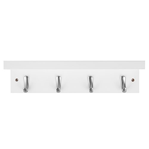 DOKEHOM 4 Satin Nickel Hooks 4 Colors On Wooden Board With Shelf Coat Rack Hanger Mail Box Packing White 0 2
