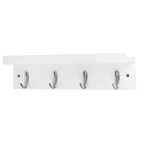 DOKEHOM 4 Satin Nickel Hooks 4 Colors On Wooden Board With Shelf Coat Rack Hanger Mail Box Packing White 0