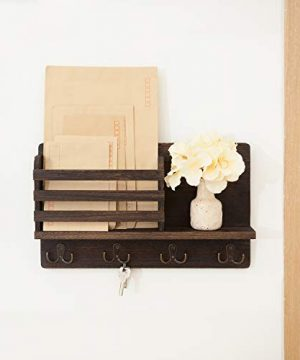 Dahey Wall Mounted Mail Holder Wooden Mail Sorter Organizer With 4 Double Key Hooks And A Floating Shelf Rustic Home Decor For Entryway Or MudroomBrown 0 0 300x360