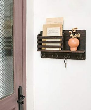 Dahey Wall Mounted Mail Holder Wooden Mail Sorter Organizer With 4 Double Key Hooks And A Floating Shelf Rustic Home Decor For Entryway Or MudroomBrown 0 1 300x360