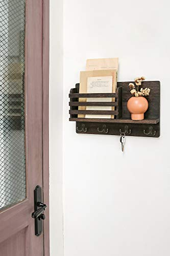Dahey Wall Mounted Mail Holder Wooden Mail Sorter Organizer With 4 Double Key Hooks And A Floating Shelf Rustic Home Decor For Entryway Or MudroomBrown 0 1