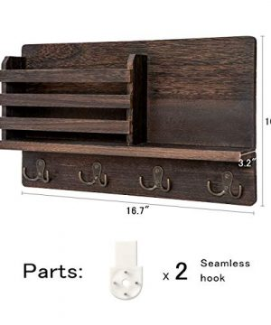Dahey Wall Mounted Mail Holder Wooden Mail Sorter Organizer With 4 Double Key Hooks And A Floating Shelf Rustic Home Decor For Entryway Or MudroomBrown 0 2 300x360