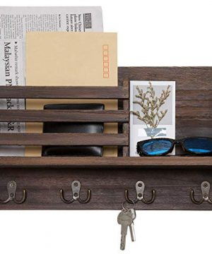 Dahey Wall Mounted Mail Holder Wooden Mail Sorter Organizer With 4 Double Key Hooks And A Floating Shelf Rustic Home Decor For Entryway Or MudroomBrown 0 300x360
