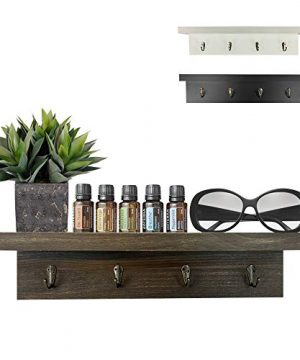 Dash Home Versatile Floating Shelf W4 Hooks Wall DecorWood Shelf Great Home Decor Room Decor Bathroom Decor Bedroom Decor Bookshelf Corner Shelf Bathroom Shelf Kona Pine Iron Brass Hook 0 300x360