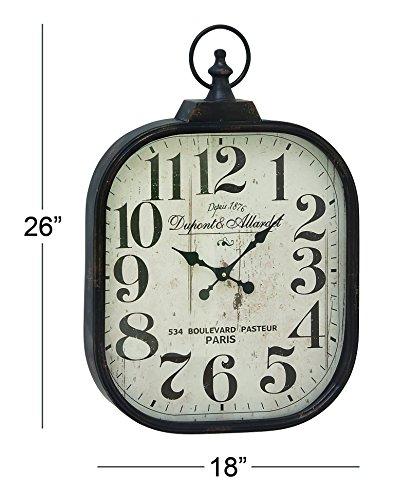Deco 79 52560 Metal Glass Wall Clock 18 X 26 0 1