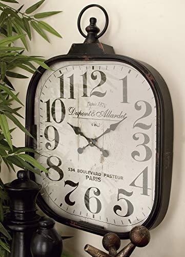 Deco 79 52560 Metal Glass Wall Clock 18 X 26 0