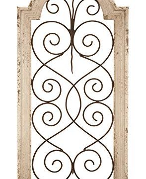 Deco 79 Rustic Wood And Metal Arched Window Wall Decor 10 By 20 Textured Ivory White Finish 0 0 294x360