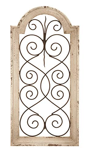 Deco 79 Rustic Wood And Metal Arched Window Wall Decor 10 By 20 Textured Ivory White Finish 0 0