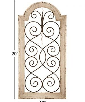 Deco 79 Rustic Wood And Metal Arched Window Wall Decor 10 By 20 Textured Ivory White Finish 0 1 300x360