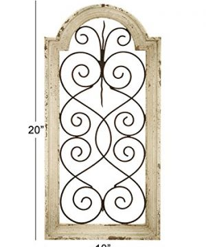 Deco 79 Rustic Wood And Metal Arched Window Wall Decor 10 By 20 Textured Ivory White Finish 0 2 300x360