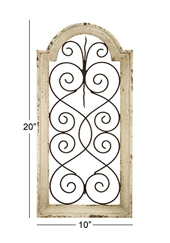 Deco 79 Rustic Wood And Metal Arched Window Wall Decor 10 By 20 Textured Ivory White Finish 0 2