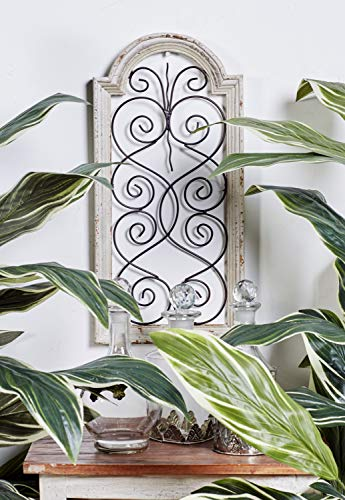 Deco 79 Rustic Wood And Metal Arched Window Wall Decor 10 By 20 Textured Ivory White Finish 0
