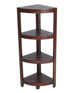 Decoteak Oasis 4 Tier Solid Teak Indoor Outdoor Corner Storage Shelf 0 300x360