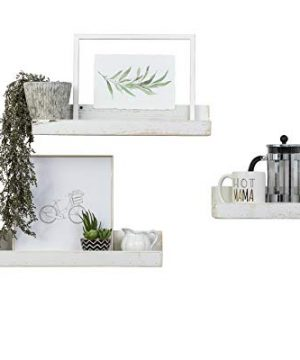 Del Hutson Designs Rustic Luxe Floating Shelves Shallow Set Of 3 USA Handmade Distressed White 0 300x360