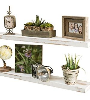 Del Hutson Designs Rustic Pine Solid Wood Floating Shelves Natural Farmhouse Contemporary Living Decor White 36 Inch 0 300x333