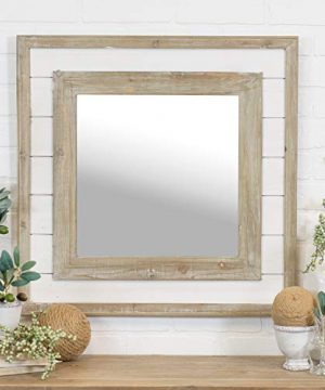 Distressed Shiplap Mirror Farmhouse Hand Painted 0 300x360