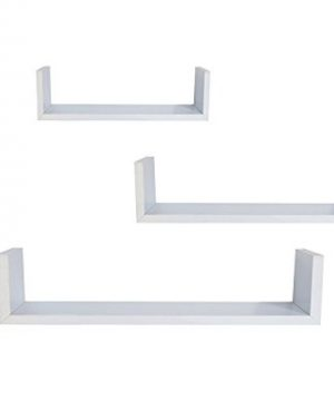EWEIS HomeWares WHC1004CD WH 3 Floating U Shelves White 0 300x360